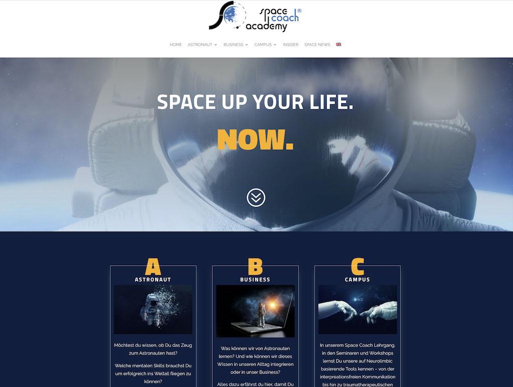 Webseite Space Coach Academy